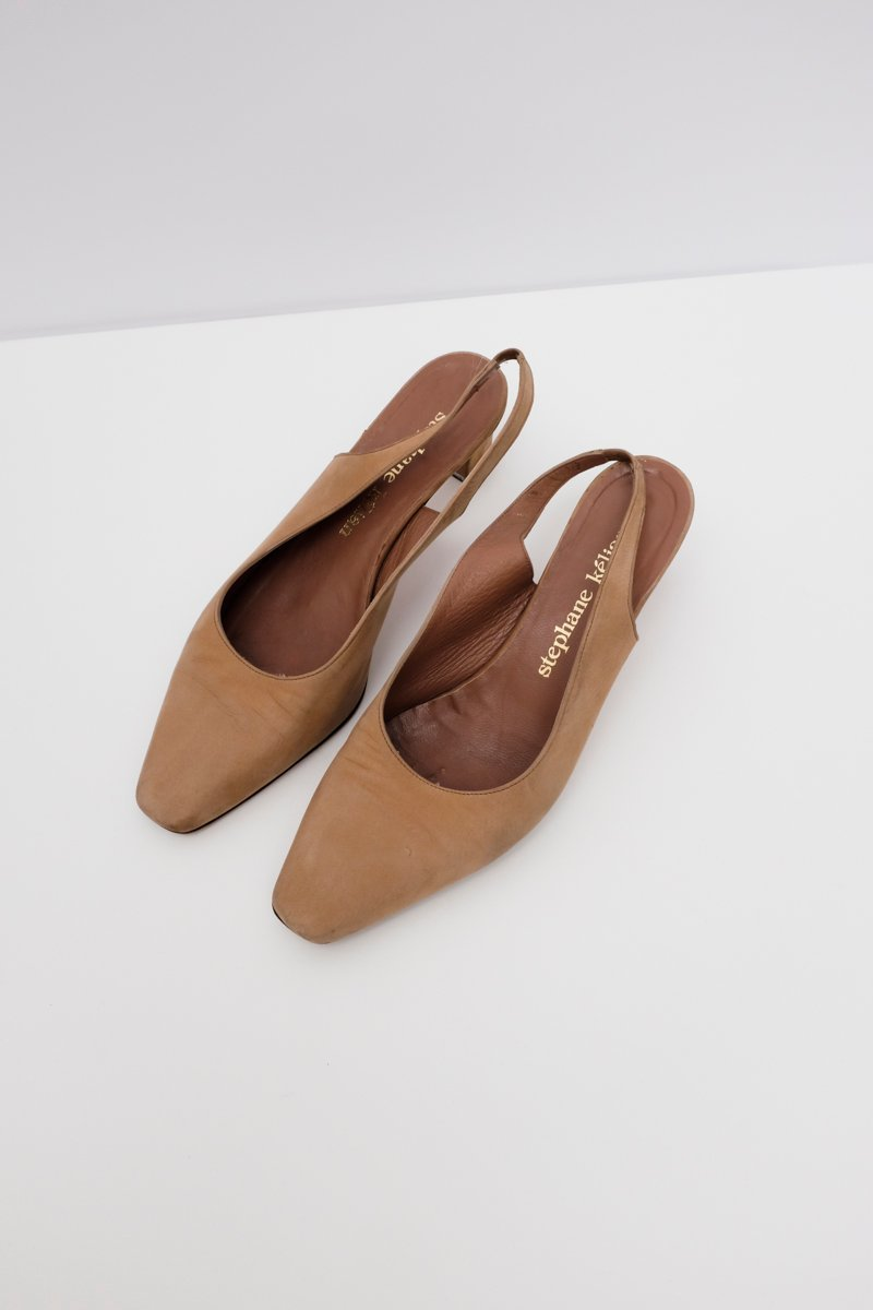 0236_SLING BACK SUEDE LEATHER HEELS 39