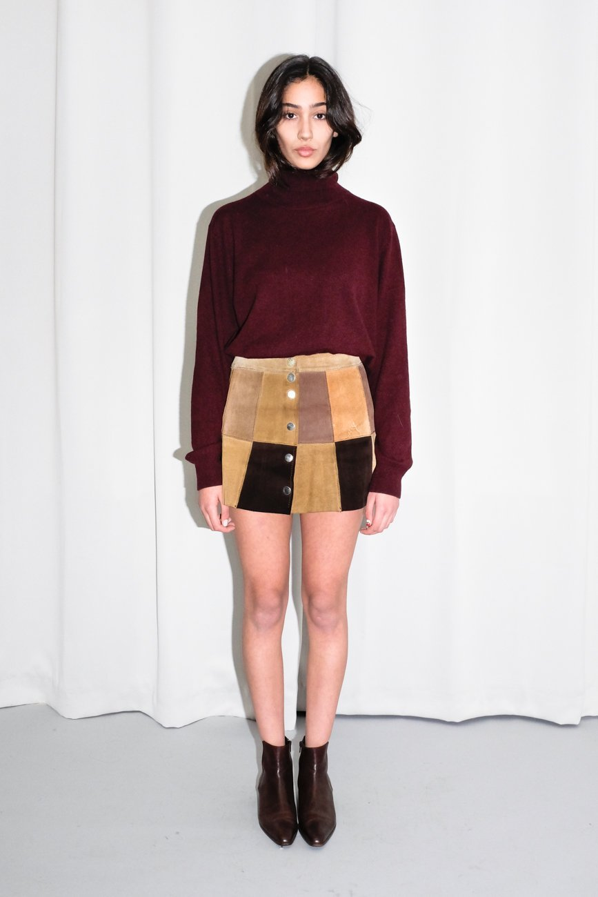 0654_VINTAGE SUEDE BROWN BUTTON UP SKIRT