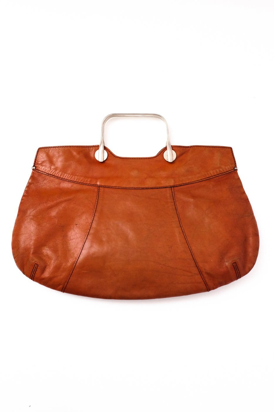 0511_ORANGE COGNAC XL LEATHER VTG BAG