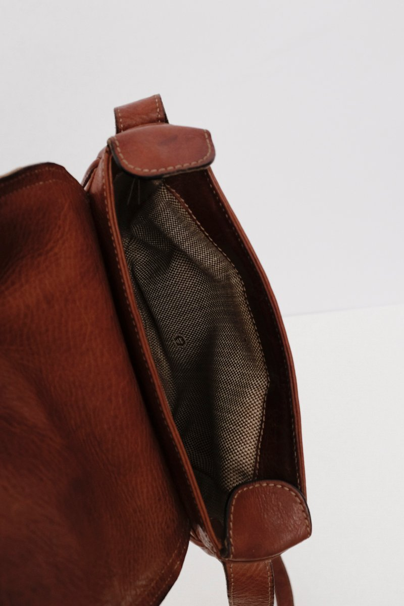 0171_AIGNER BROWN WOVEN LEATHER BAG