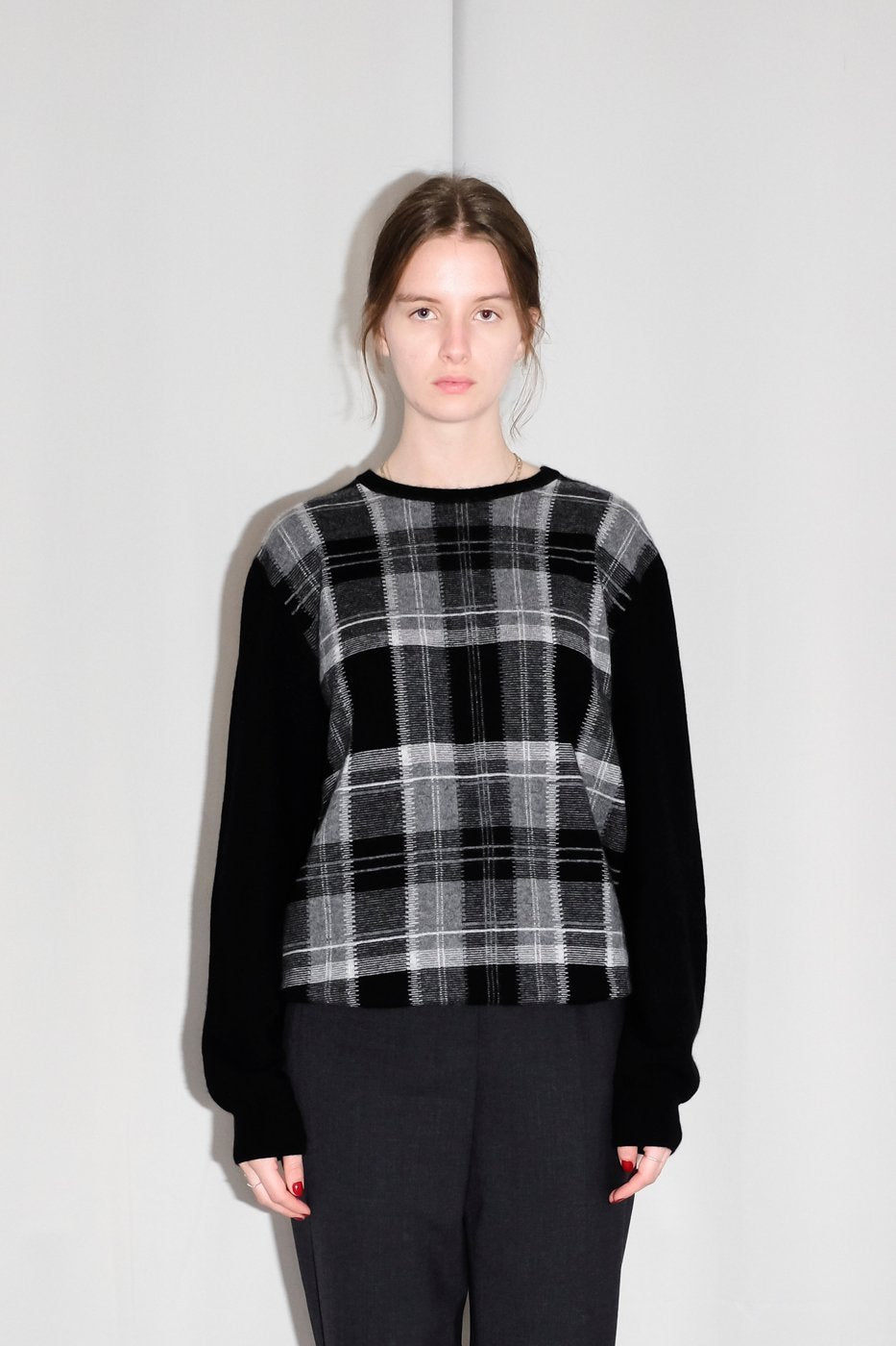 0309_CASHMERE CHECKED TARTAN KNIT