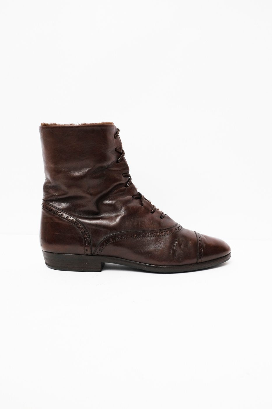 0335_BANFI 38 39 WARM WINTER LEATHER LACE UP BOOTS