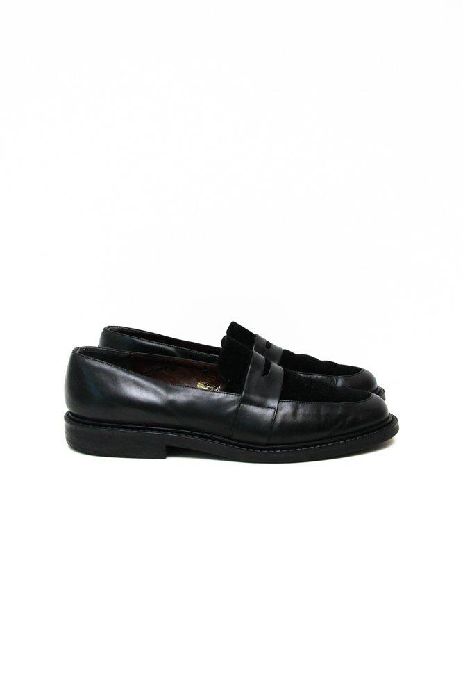 0683_VINTAGE 40 BLACK CHUNKY SUEDE FLATS LOAFERS