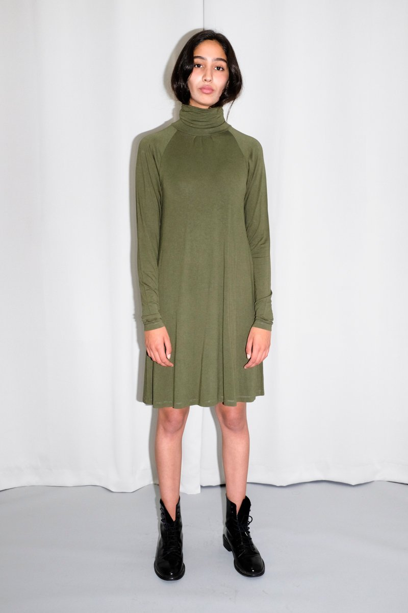 0520_FILIPPA K. KHAKI ROLL NECK DRESS