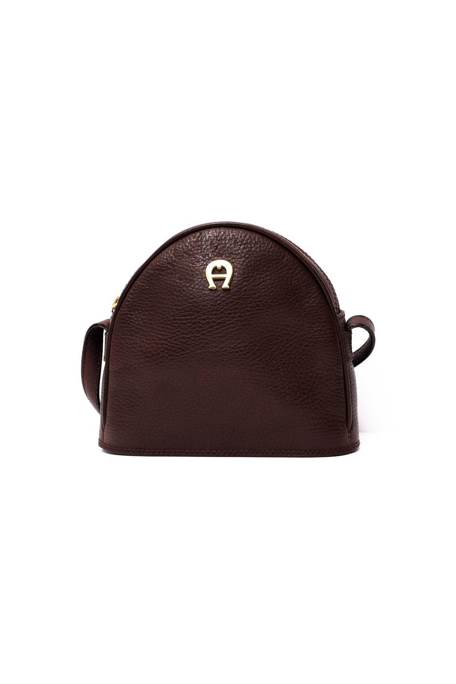 0327_AIGNER BROWN HALF MOON BAG