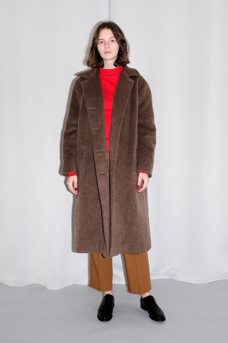 0264_BROWN TEDDY OVERSIZED WOOL COAT