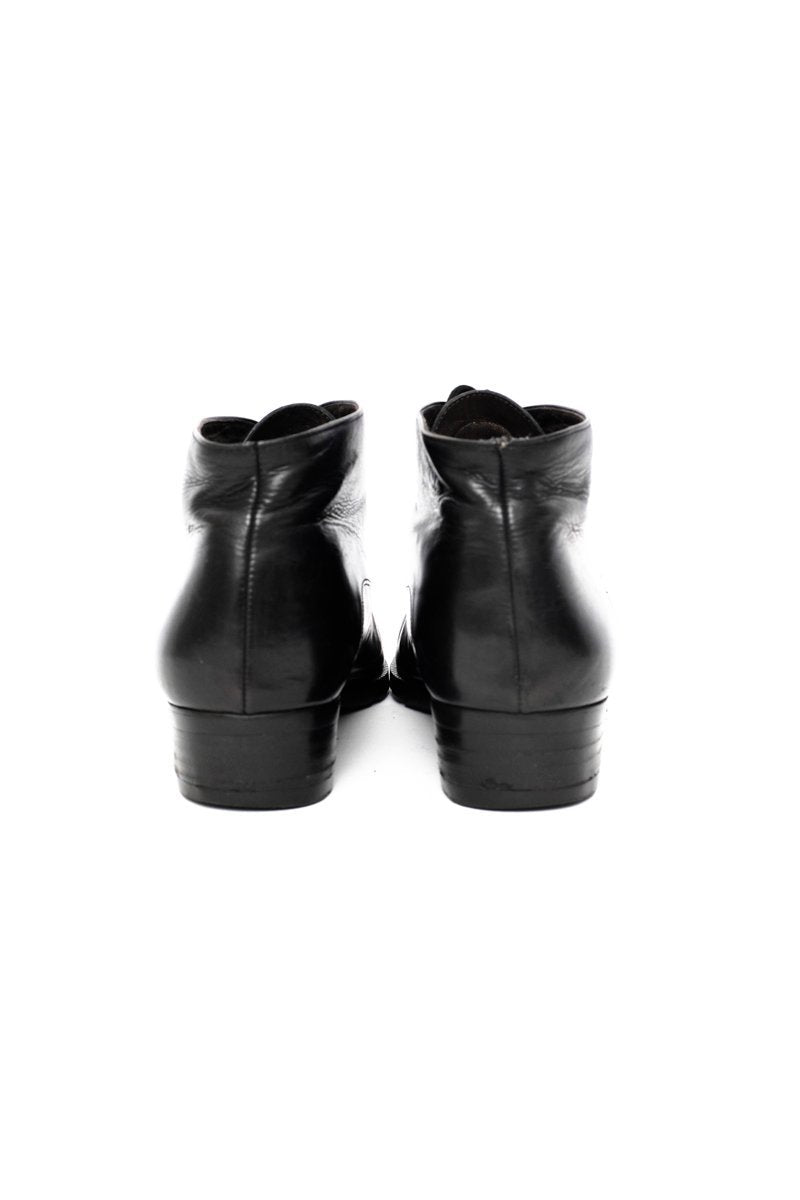 0503_FEMININ 39 BLACK LEATHER LACE-UP BOOTS