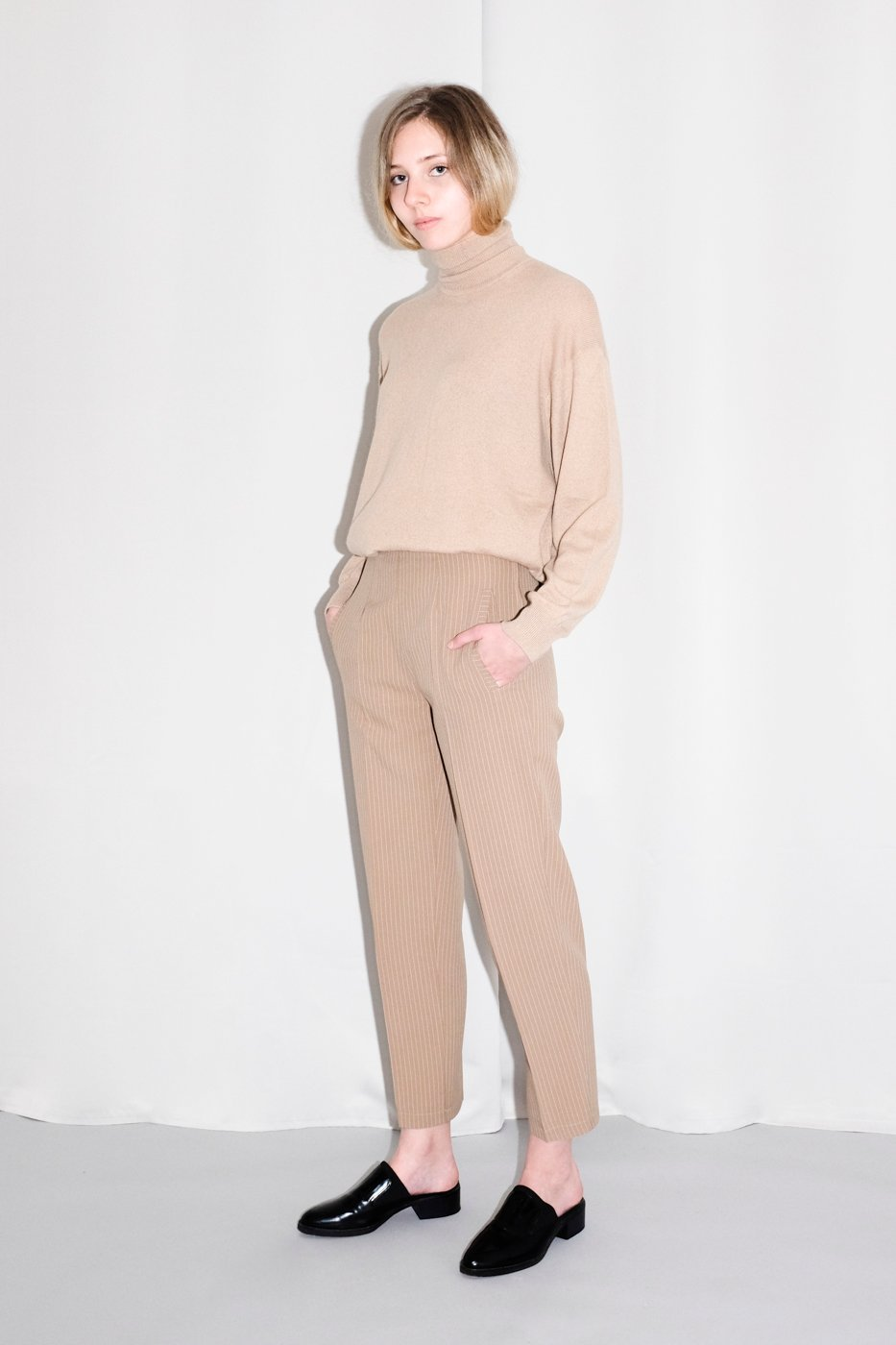 0341_NUDE PINSTRIPED VINTAGE PANTS