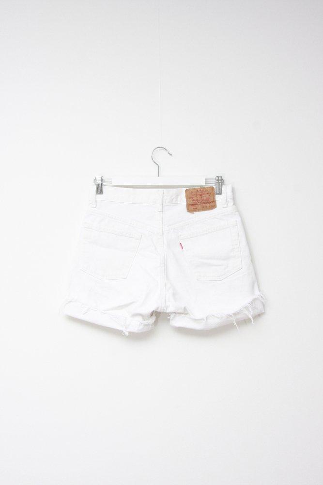 0721_LEVIS 501 VINTAGE WHITE FRINGE CUFFED JEANS SHORTS W31