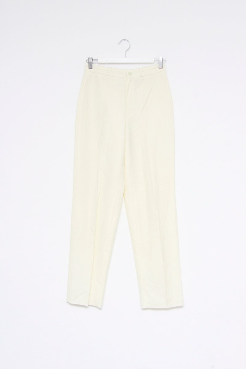 0568_OFF WHITE WOOL HIGH WAIST VINTAGE PANTS