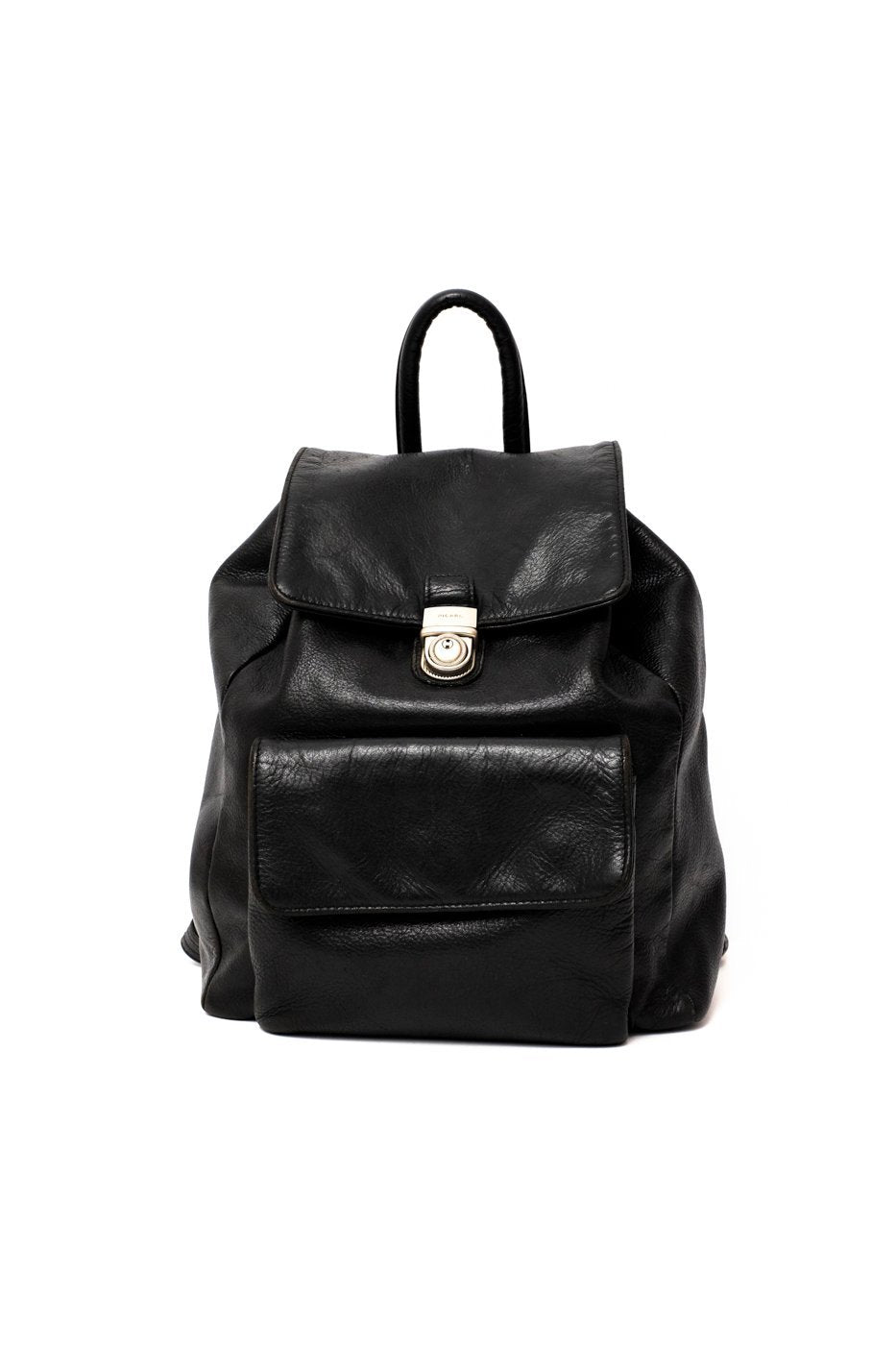 0317_PICARD BLACK CLEAN CHIC LEATHER BACKPACK