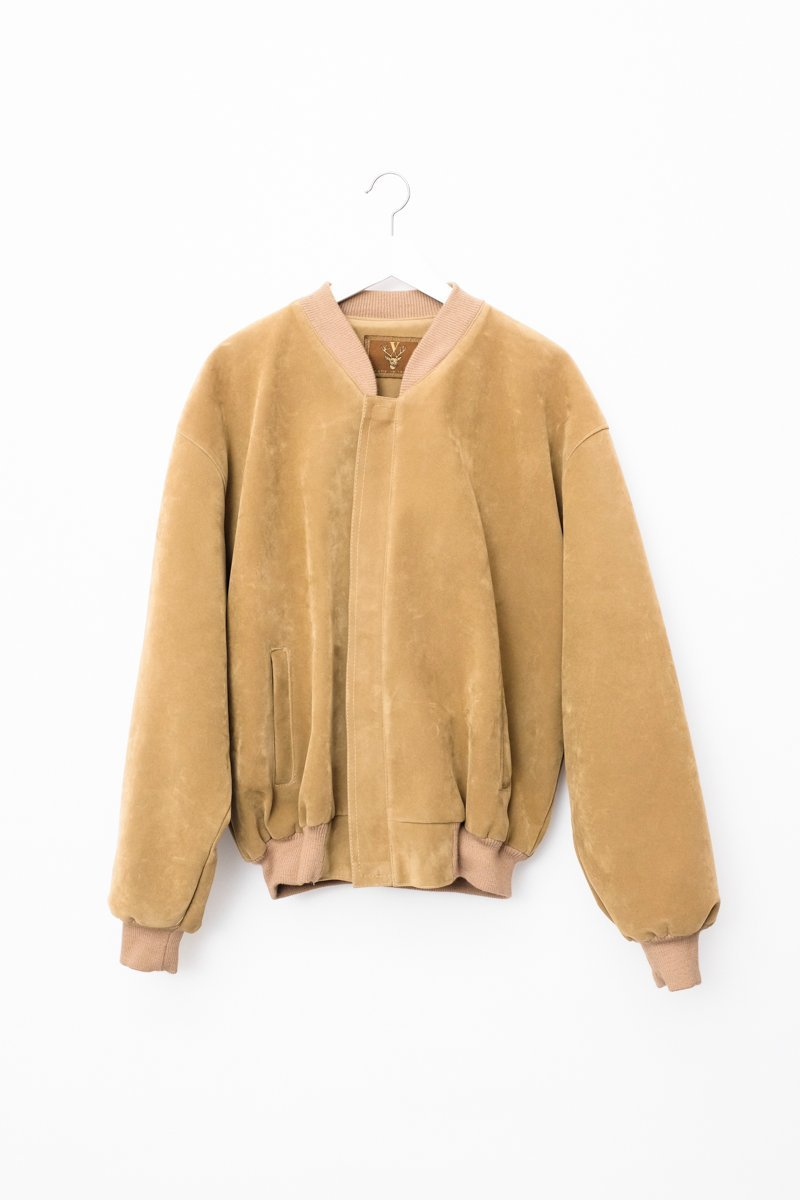 0545_LIGHT CAMEL FAUX SUEDE BOMBER JACKET