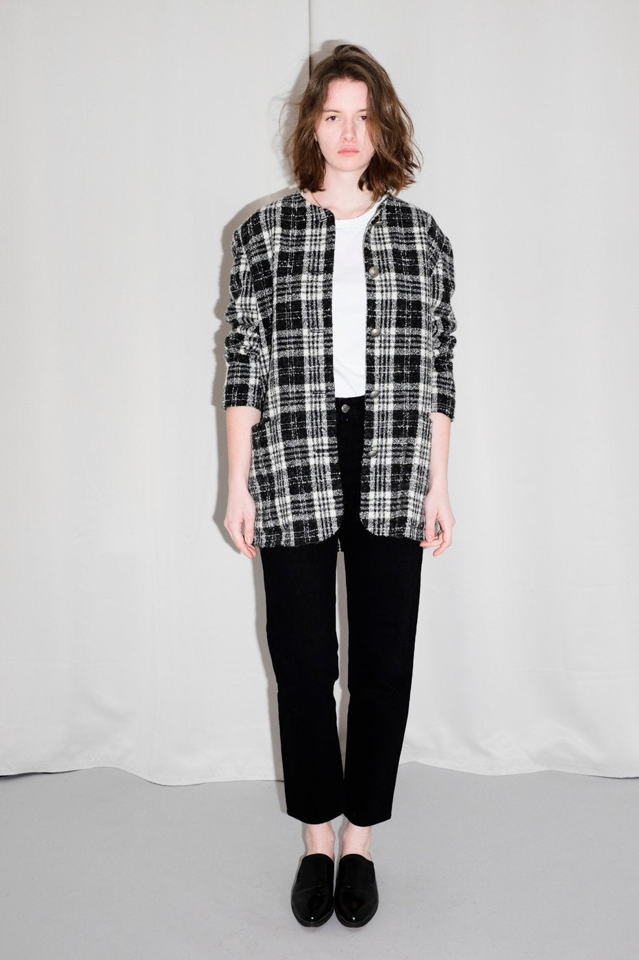 0637_VINTAGE TARTAN PLAID BLACK WHITE BLAZER COAT