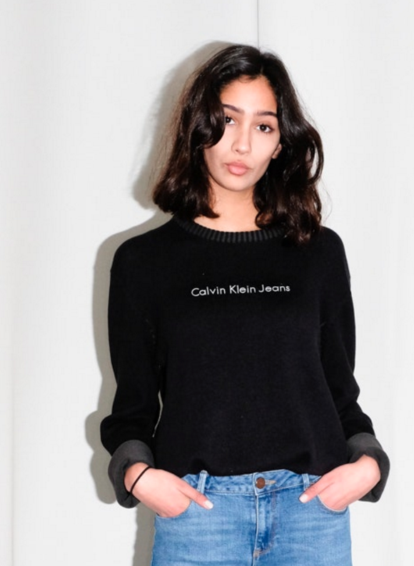 0646_CALVIN KLEIN VINTAGE BLACK KNIT SWEATER