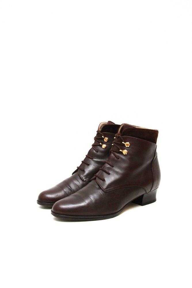 0689_VINTAGE 38 BROWN LEATHER LACE UP BOOTIES