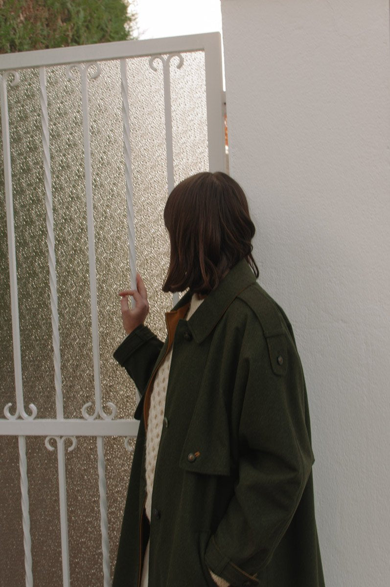 0655_VINTAGE KHAKI GREEN OCKER WOOL COAT