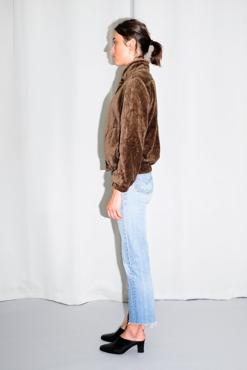 0549_VELVET BROWN BOMBER JACKET