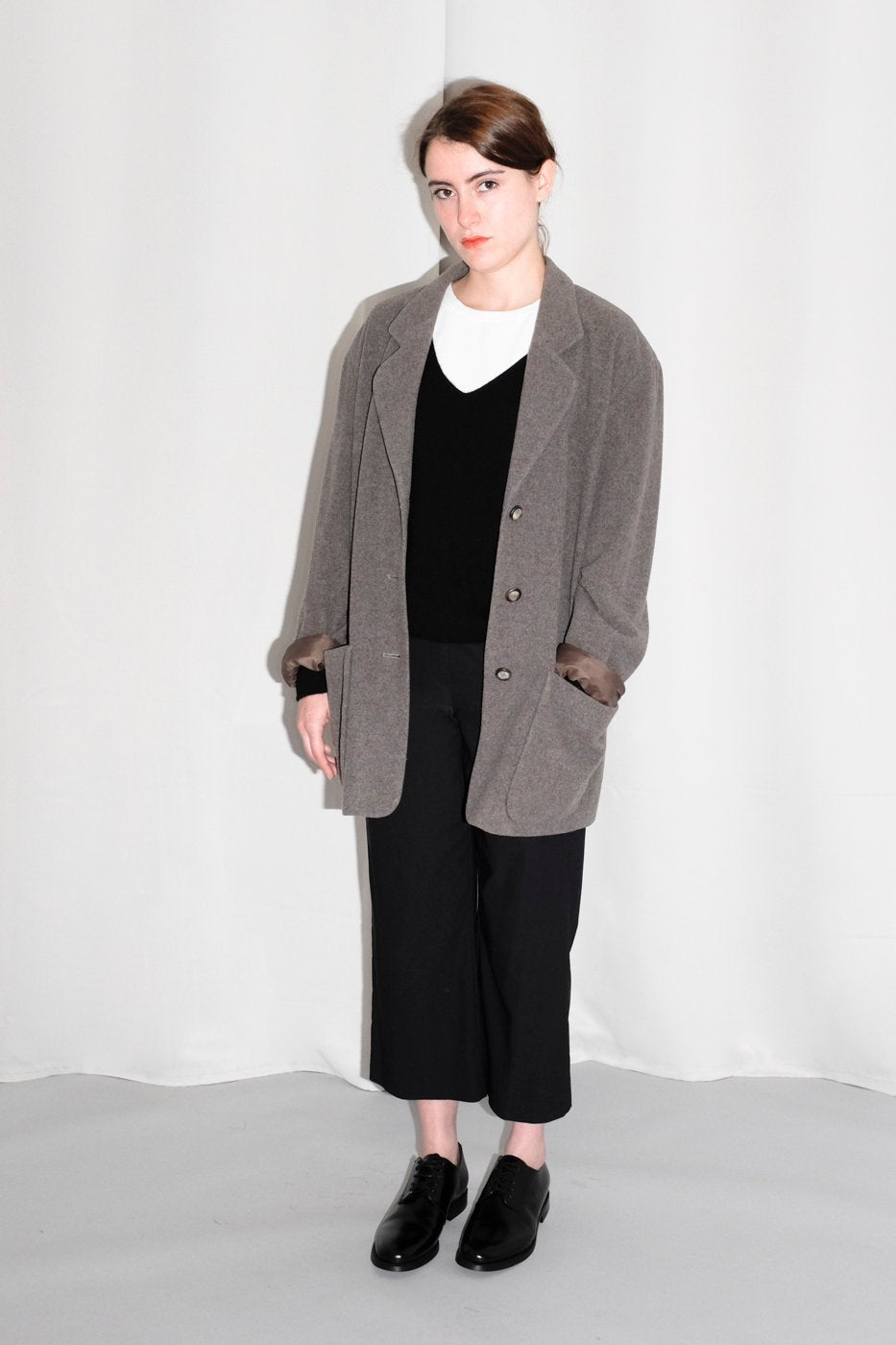 0326_BROWN WOOL CASHMERE LONG BLAZER JACKET