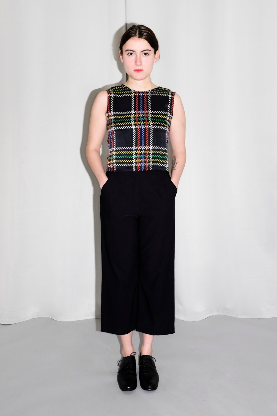 0148_PURE SILK TARTAN CROP VINTAGE TOP