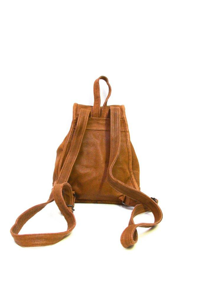 0694_VINTAGE SMALL HIPPIE BROWN CAMEL LEATHER BACKPACK