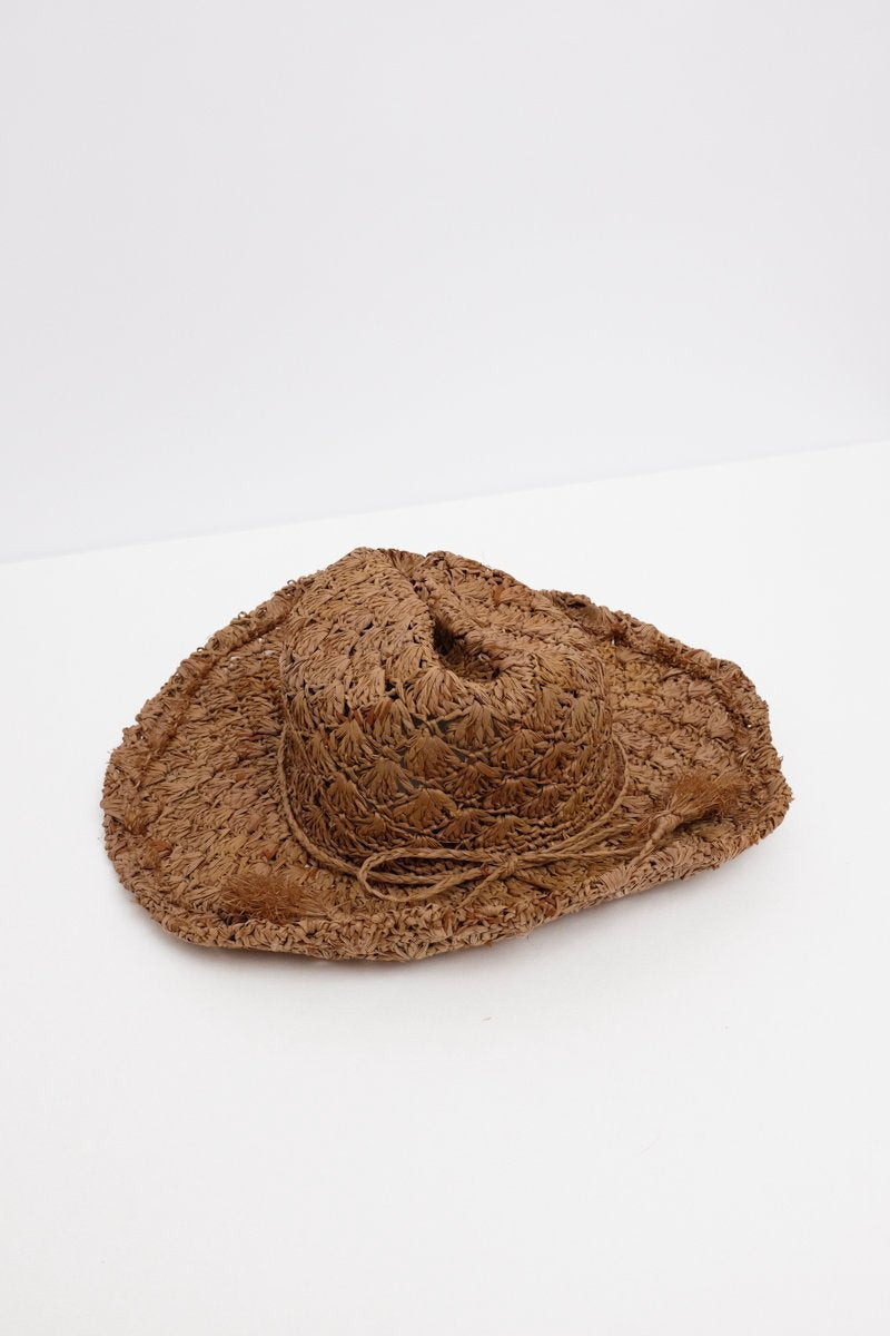 0191_BROWN VINTAGE STRAW HAT