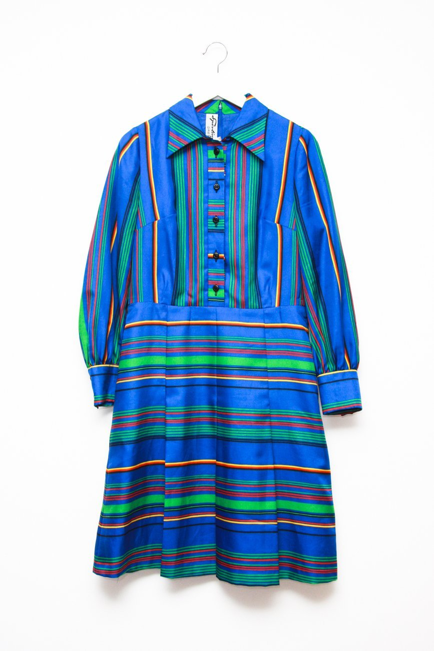 0388_MULTI COLOR STRIPES VINTAGE DRESS