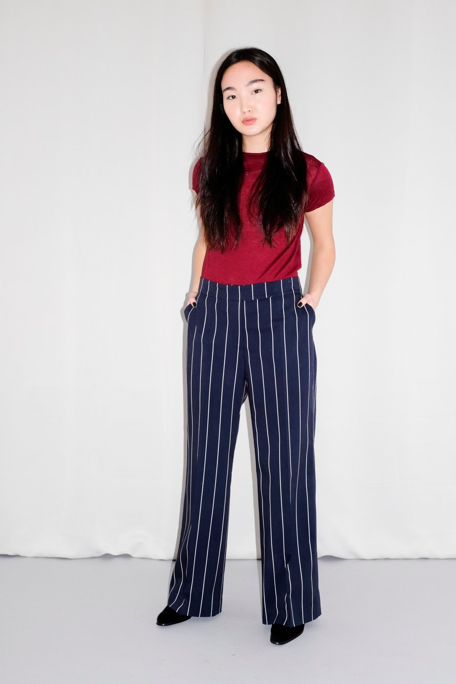 0369_NAVY MARLENE PINSTRIPES PANTS