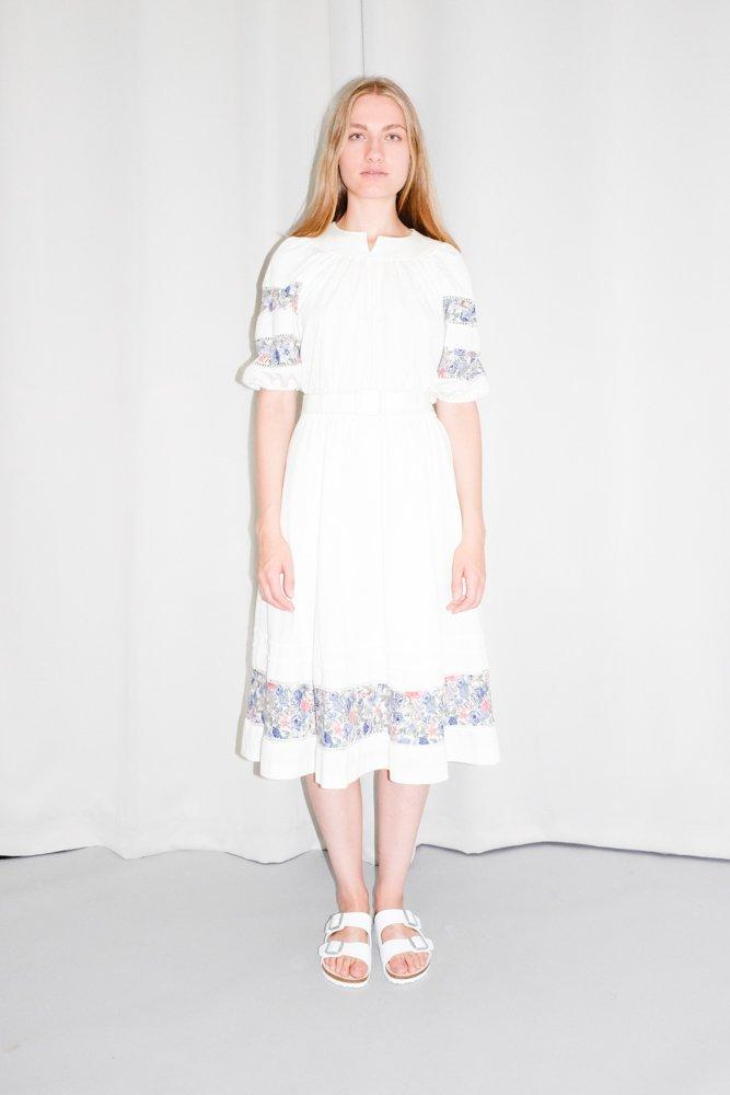 0746_VINTAGE WHITE FLORAL FESTIVAL HIPPIE MIDI DRESS
