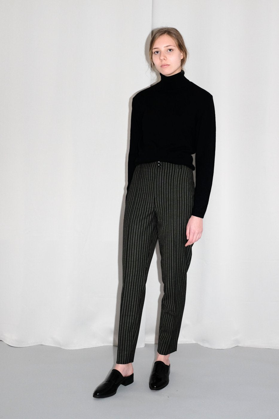 0278_PINSTRIPES GREEN BLACK HIGH WAIST PANTS