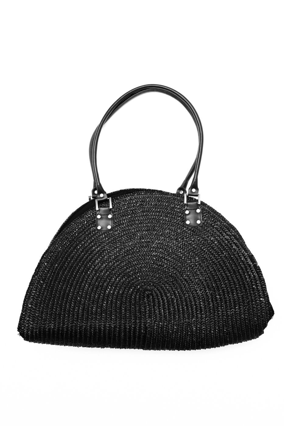 0469_XL BLACK HALF MOON STRAW BAG