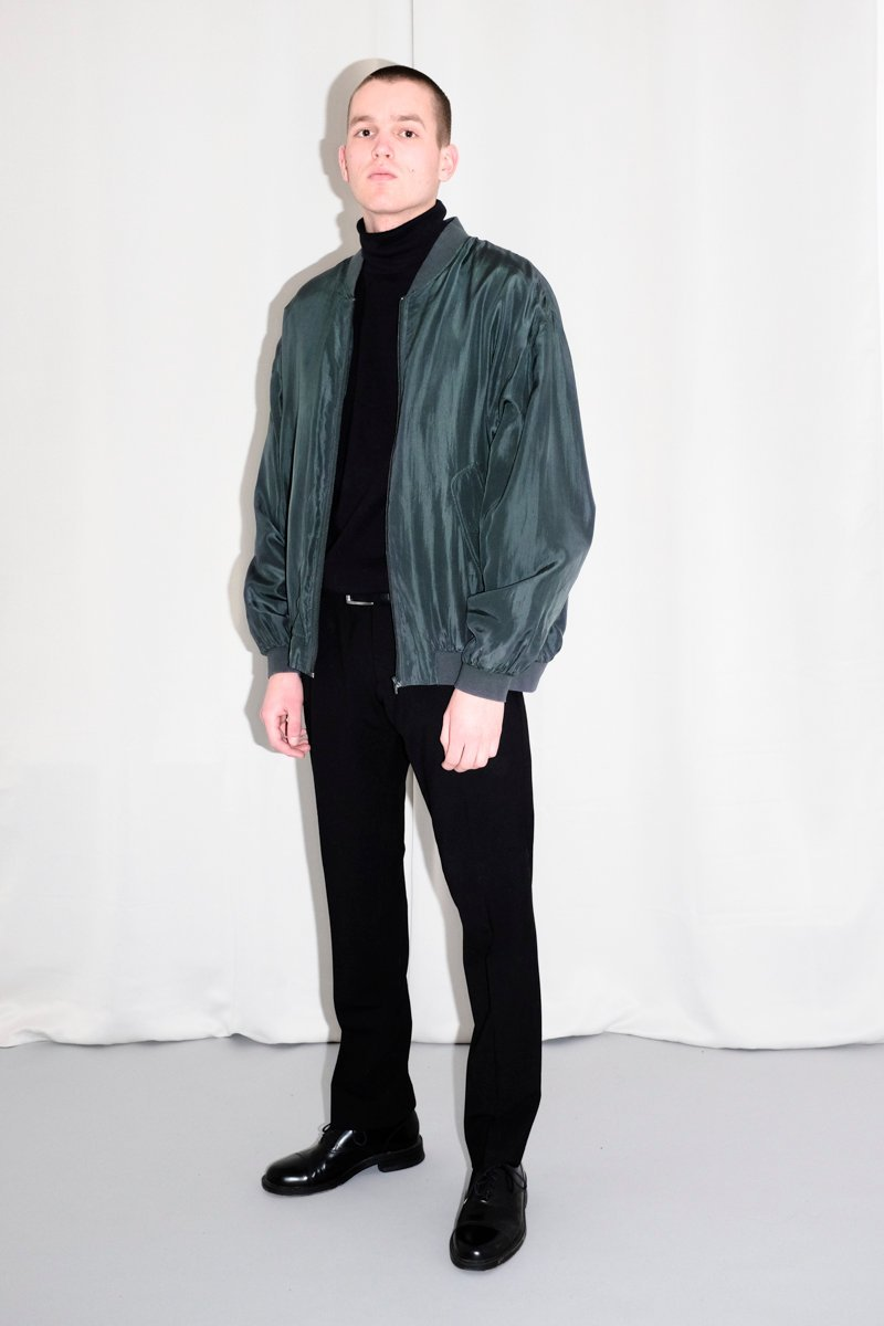 0523_SILK GREEN BOMBER JACKET