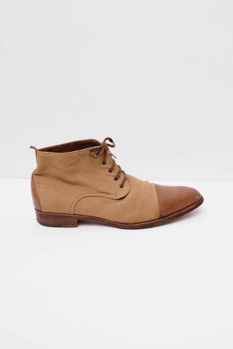 0182_JIL SANDER LEATHER CANVAS LACE-UP BOOTS