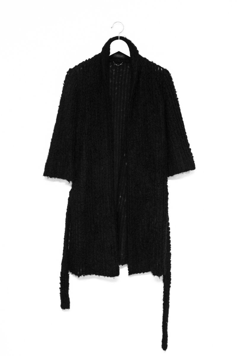 0576_STRENESSE MOHAIR KNIT BLACK LONG CARDIGAN