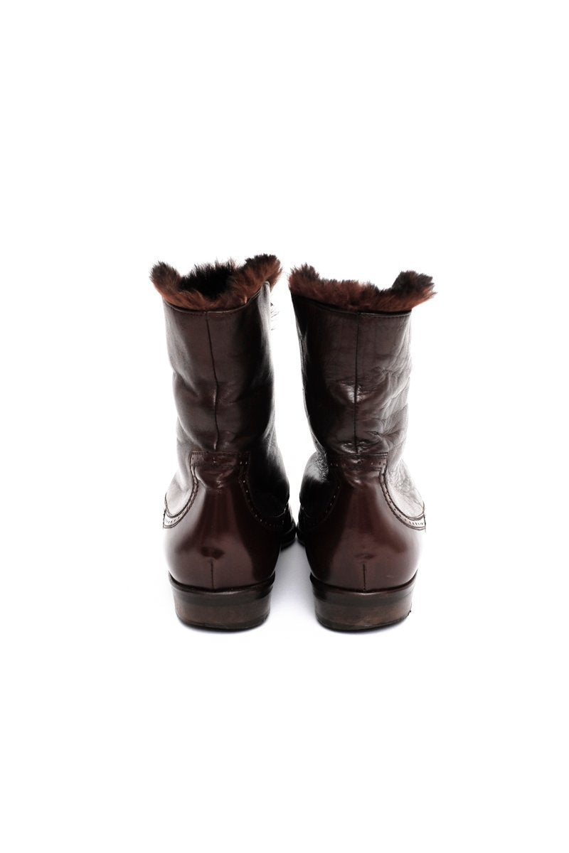 0577_BALLY WARM 36 BROWN FLAT LEATHER BOOTS