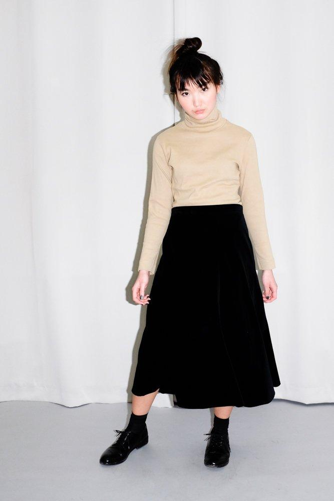 0613_VINTAGE VELVET TAILORED MIDI SKIRT