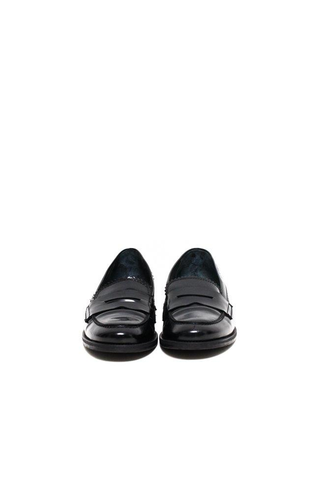 0608_BLACK 40 PATENT LEATHER COLLEGE SHOES LOAFERS