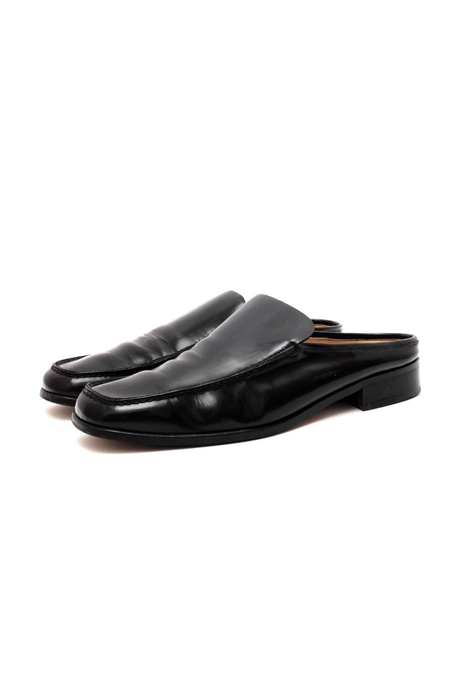 0498_SLIDS 38 39 BLACK LEATHER VINTAGE LOAFERS