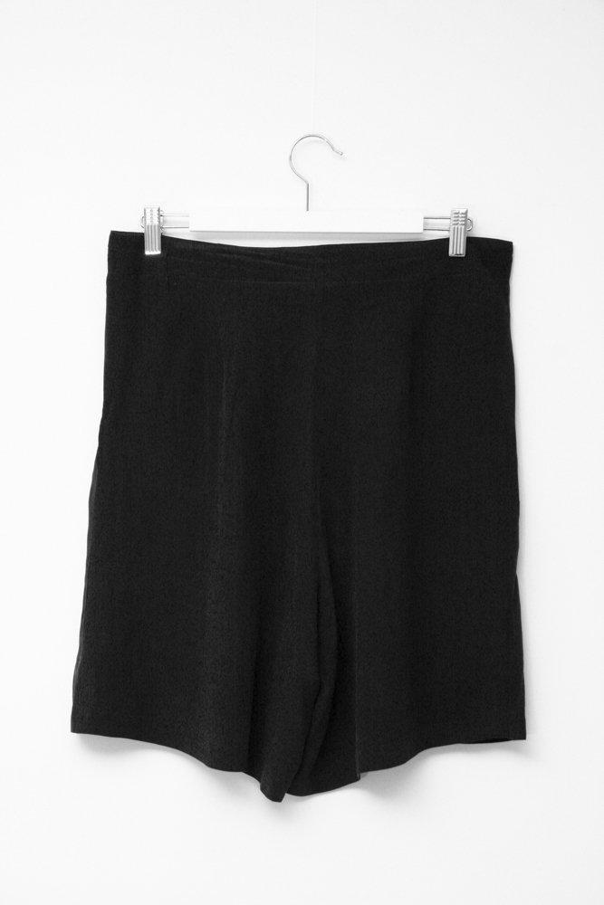 0602_VINTAGE BLACK LAYERING SILK SHORTS