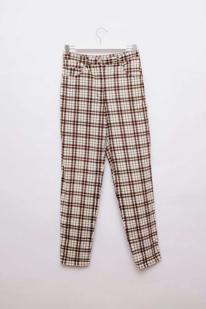 0176_CHECKED HIGH WAIST SKINNY JEANS