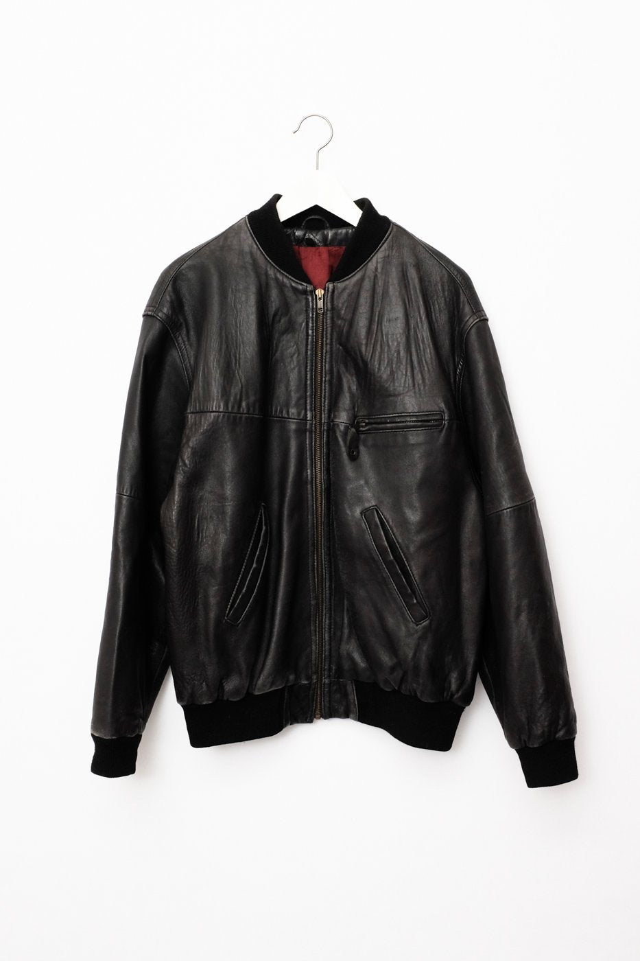 0404_LEATHER BLACK BOMBER JACKET