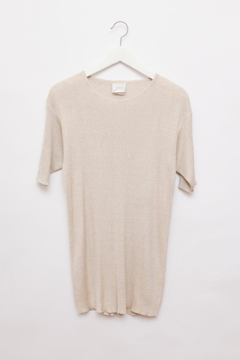 0242_LINEN RIB NUDE KNIT TEE TUNIC DRESS