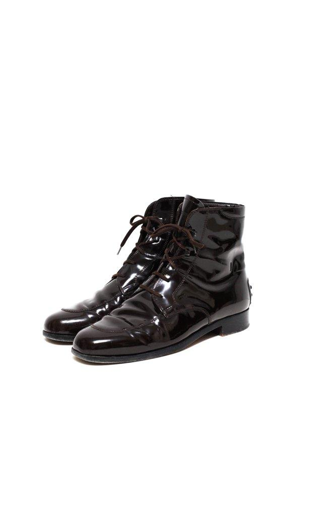 0574_TODS 38 PATENT LEATHER LOAFER BOOTS