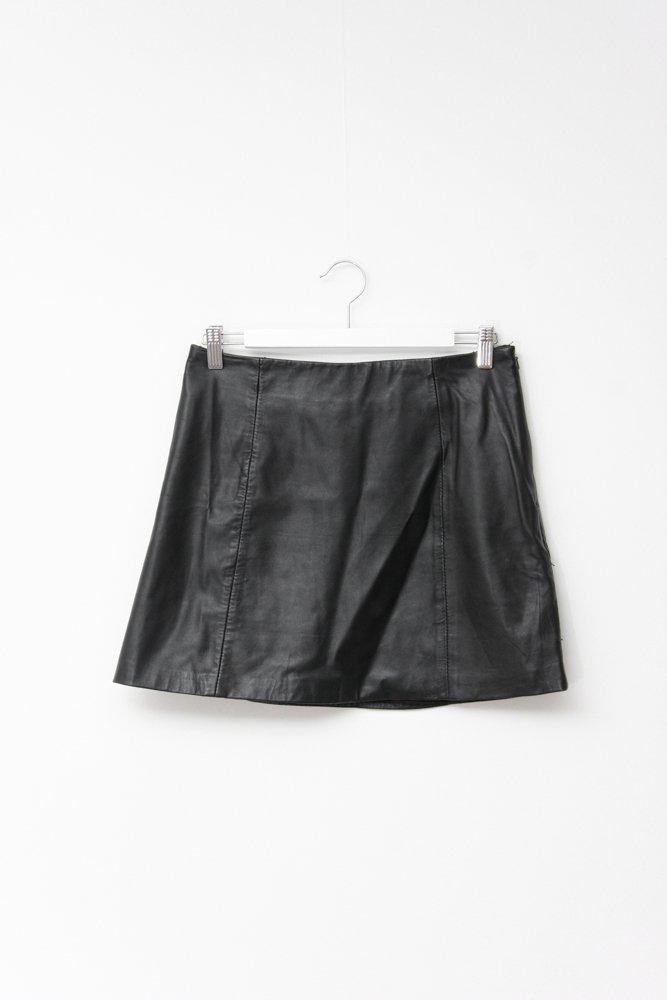 0731_BLACK LEATHER HIGH WAISTED MINI SKIRT