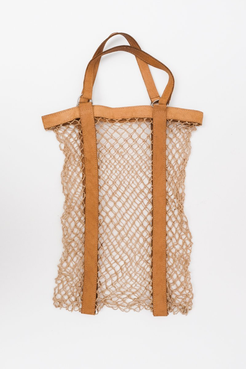 0244_VINTAGE LEATHER SISAL MARKET BEACH BAG
