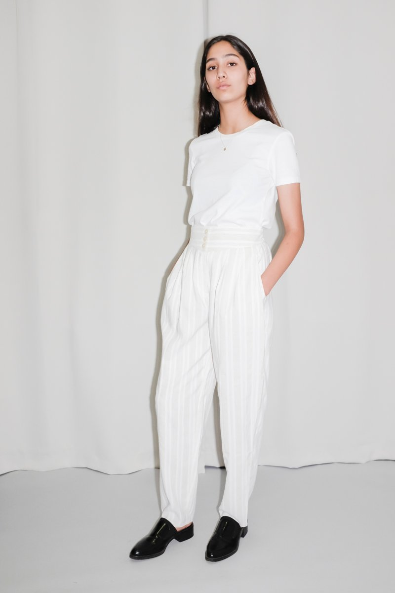 0238_CREAM PINSTRIPES HIGH WAIST PANTS