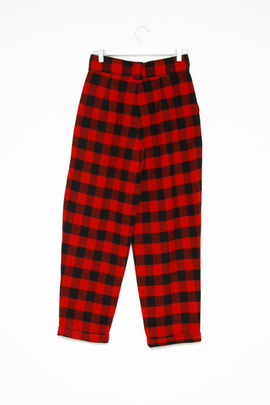 0366_CHECKED HIGH WAIST WARM PANTS