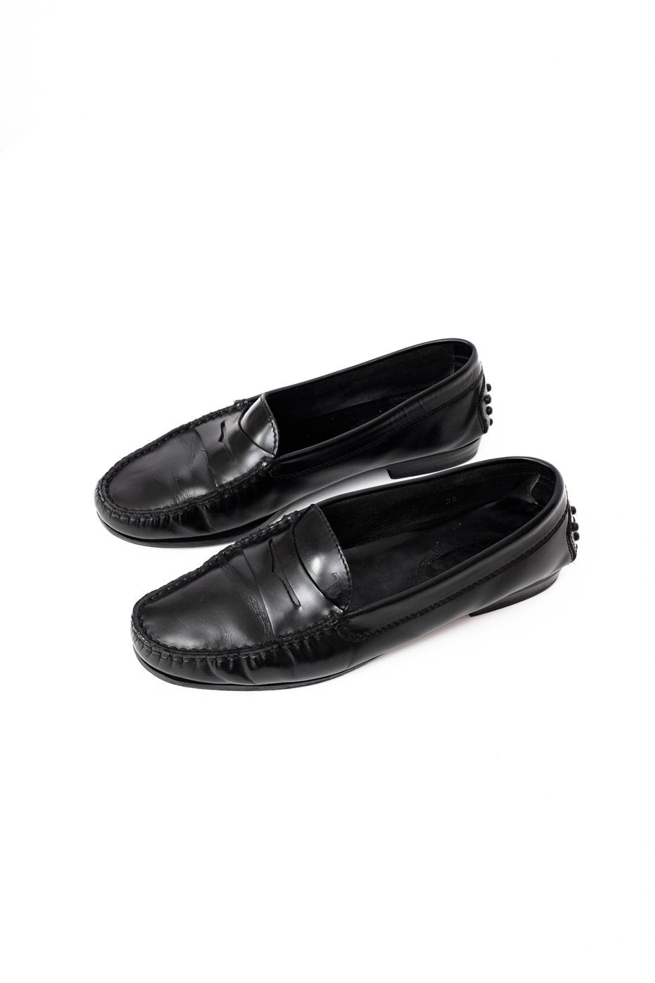 0075_TODS BLACK LEATHER SLIPPERS LOAFERS 38