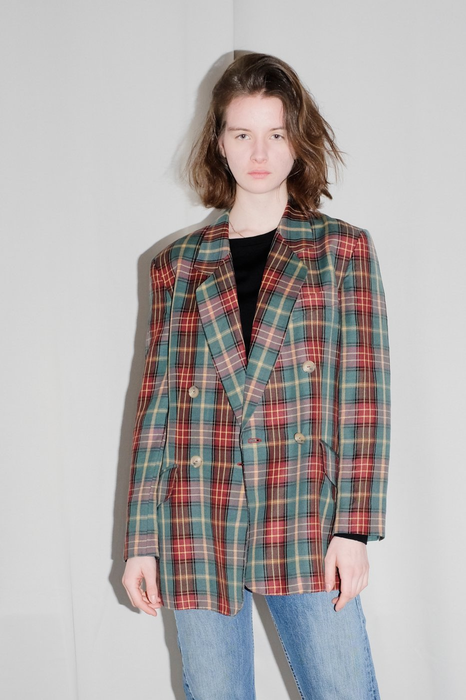 0364_CHECKED GREEN RED OVERSIZED BLAZER