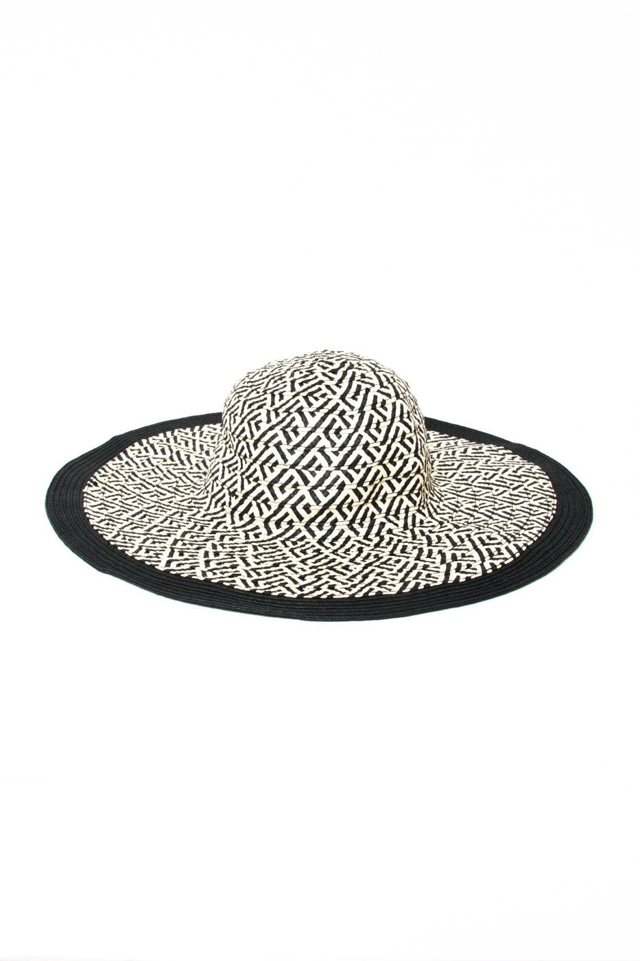 0474_GAP BLACK WHITE STRAW HAT // S-M