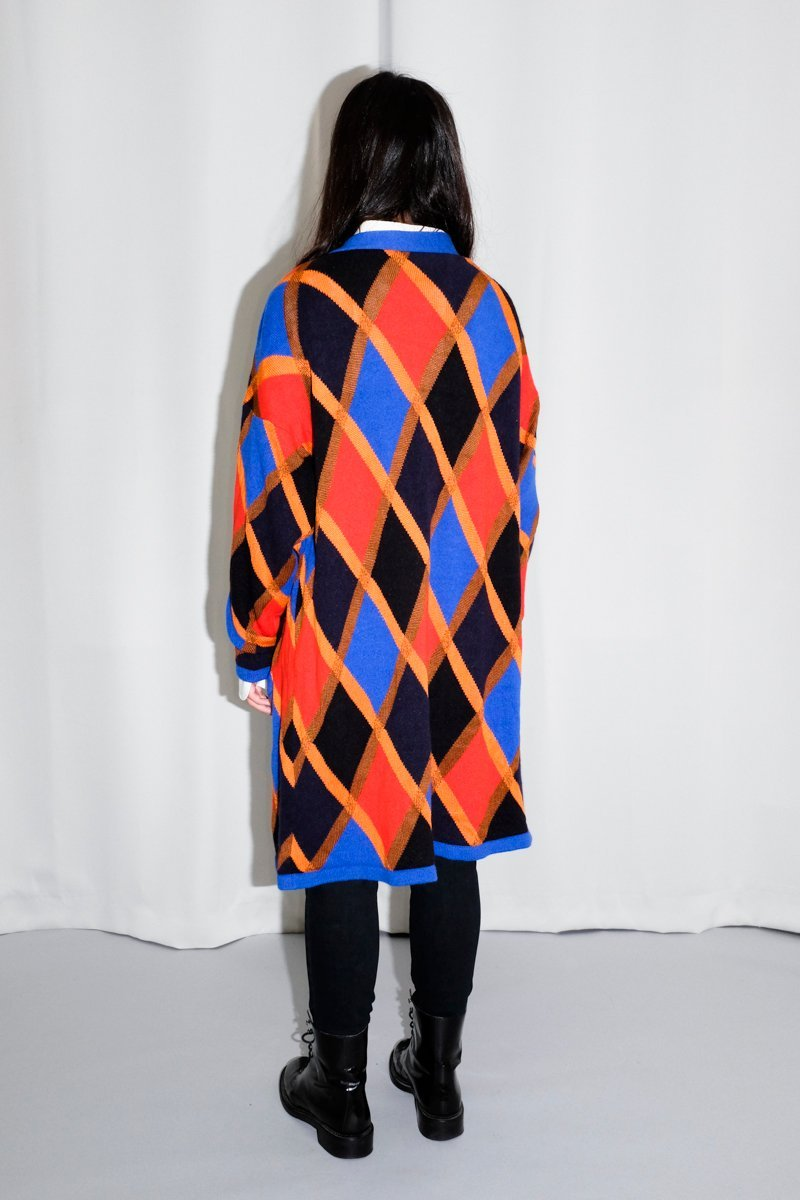 0390_LONG ARGYLE CARDIGAN COAT